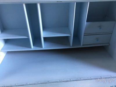 Brieffächer und kleine Schubladen Sekretär hellblau